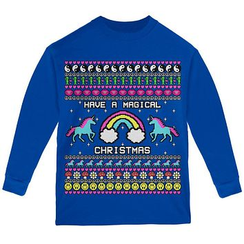 Retro 90s Rainbow Unicorn Magical Ugly Christmas Sweater Youth Long Sleeve T Shirt