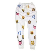 Women Clothing Emoji jogging pants 3D Sweatpants Joggers White (XL)