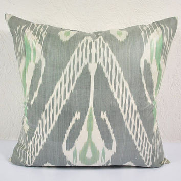 "Ikat Pillow, Slow Tide 20"" Ikat Pillow Cover - PA514-1AA3. Ikat throw pillows, Designer pillows, Decorative pillows, Accent pillows"