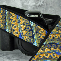 dSLR Camera Strap, Middle Eastern, Indian Inspired, Pocket, Royal, Aqua, Metallic Gold, Camera Neck Strap, Canon or Nikon Strap, 205 ww