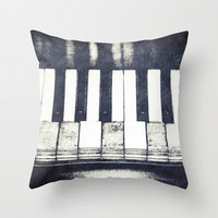 Broken Keys in Black and White, Photo Throw Pillow Cover, Home Decor, Piano Art, Vintage Piano, Old Piano Keys, Musical Instrument Decor