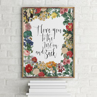 """Nursery poster """"I love you to the moon and back"""" Typography quote Room poster Typogaphic print Wall artwork Home decor Printable poster"""