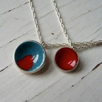 Supermarket: teal and poppy double dot necklace from k.o'brien jewelry