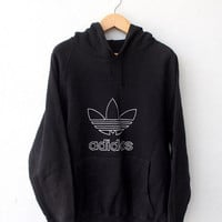 ON SALE 25% ADIDAS Vintage 80's Trefoil Big Logo Run Dmc Hip Hop Rap Hoodie Sweater Streetwear Jacket Black Size M