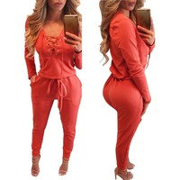 Women Rompers Jumpsuits lace up Long Sleeve bobycon Jumpsuit Deep V-neck Jumpsuits Bodysuit Overalls Women Clothing LJ5801E