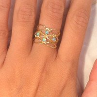 HOLIDAY SALE!! Opal ring, Opals gold ring,birthday gift for her, romantic gift ideas, every day rings, opal jewelry