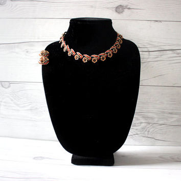 Vintage Gold and Orange Flowers Jewelry Set   Link Necklace and Clip-On Earrings   Costume Jewelry