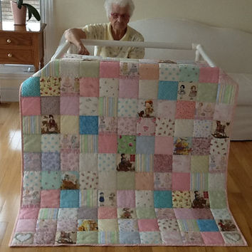 Country Girl, Paper Dolls, Teddy Bears, Hand Quilted, Childrens Lap Quilt, Handmade Quilt 48 x 57 inches Free Shipping Canada and USA