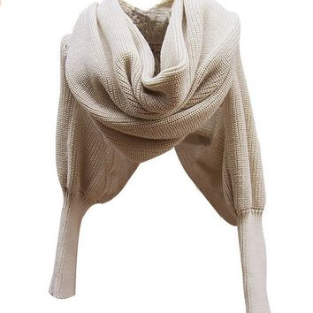 Womens Scarf with Sleeves Crochet Knit Long Soft Wrap Shawl Scarves