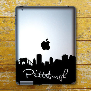 Pittsburgh Skyline Wit Writing IPad Decal - IPad 1 - IPad 2 - IPad 3 - IPad Sticker
