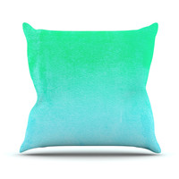 "Monika Strigel ""Blue Hawaiian"" Aqua Green Outdoor Throw Pillow"