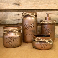 Mason Jar Bathroom Set, Hammered  Copper Bathroom Set, Rustic Mason Jar Bath Set, Mason Jar Decor, Bathroom Mason Jar, Mens rustic bathroom