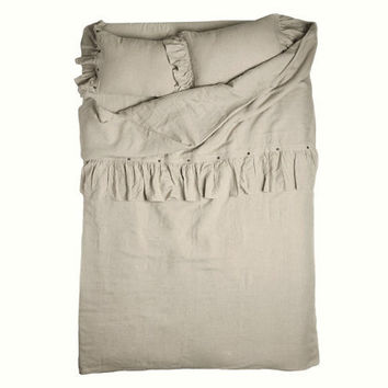 Duvet cover Queen in linen with Large ruffle Vintage dream by Lovely Home Idea.