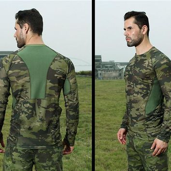 Outdoor ALL TERRAIN Camouflage Long Sleeve TShirt Military Tactical Tee Shirts Spring Summer Jogging Camping Hiking Hunting