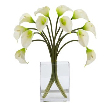Artificial Flowers -Calla Lily White Arrangement in Vase