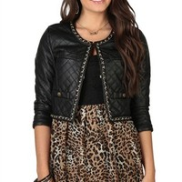 Cropped and Quilted Leather Jacket with Gold Chain Trim