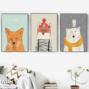 Cartoon Fox Bear Owl Wall Art Canvas Painting Nordic Posters And Prints Pop Art Wall Pictures For Kids Room Baby Girl Room Decor