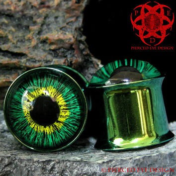 Green & Yellow Eyes Ear Plugs gauged ears 0g hand painted