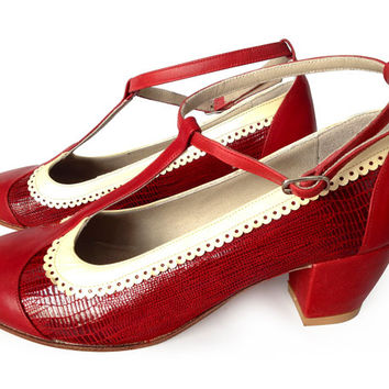 T-strap low heels leather shoes in red and soft yellow