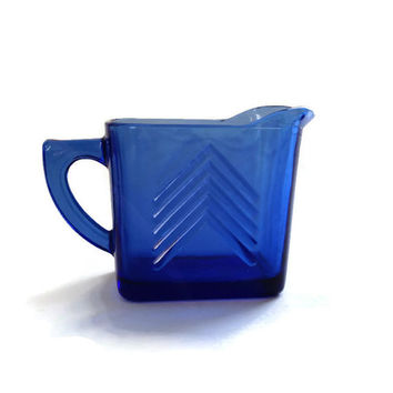 Vintage Hazel Atlas, Chevron Pattern, Cobalt Blue Glass Pitcher Creamer, 1930's, Retro Kitchen, Farmhouse