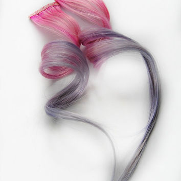 Spring Pastel extension, human hair extension / Human Hair Extension / Pink Lavendar Purple Pink / Long Tie Dye Colored Hair // Taffy