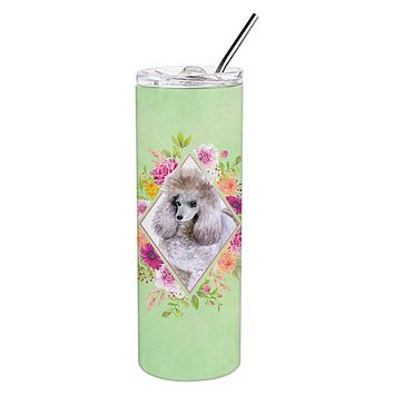 Standard Grey Poodle Green Flowers Double Walled Stainless Steel 20 oz Skinny Tumbler CK4333TBL20
