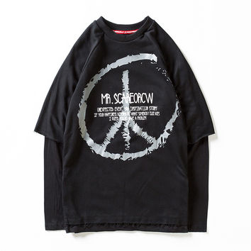 Hats Men Stylish Round-neck Pullover Long Sleeve Tops Hoodies [6541143491]
