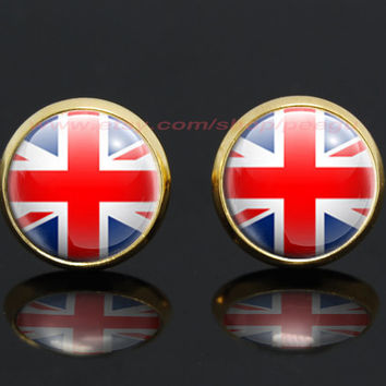 United Kingdom flag gold plated stud post earrings,girlfriend gift Bridesmaid Gift