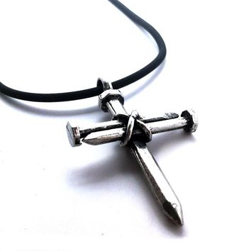 Antique Nail Cross Necklace In Pewter