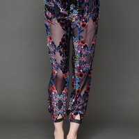 Free People Printed Burnout Velvet Harem Lounge Pant