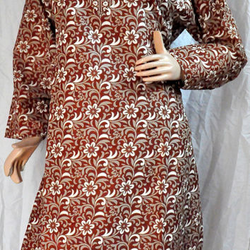 Free Shipping plus size tunic brown dress women's tunics Indian kurta pattern salwar kameez bohemian hippie clothes February trends
