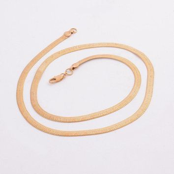 gold plating necklace width 5mm flat bone snake chain Rose gold I LOVE YOU heart shape necklace