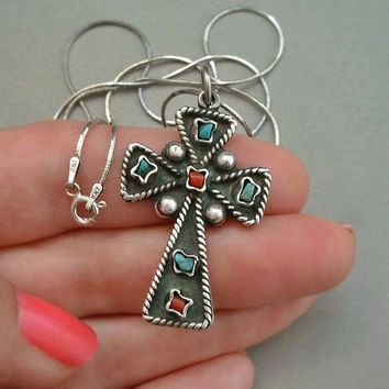 Vintage STERLING Silver TAXCO Mexican CROSS Pendant Turquoise Coral Gemstones 24 Inch Chain Hallmarked c.1970's