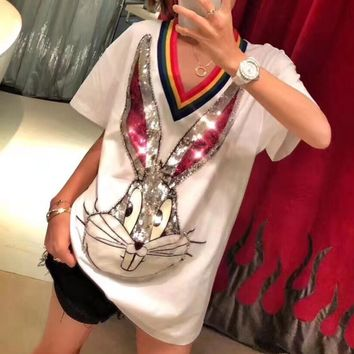 """Gucci"" Women Casual Cute Fashion Sequin Cartoon Rabbit Letter Print Multicolor Stripe V-Neck Short Sleeve T-shirt Top Tee"