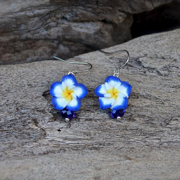 Plumeria Earrings made in Hawaii - Cobalt Blue Flower Earrings - Hawaii Plumeria Jewelry from Hawaii - Beach Bride Jewelry Hawaiian Jewelry