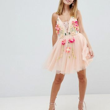 ASOS DESIGN Petite tulle 3D embellished flower mini dress at asos.com