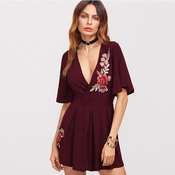Fashion Retro Deep V Embroidery Flower Short Sleeve Ruffle Mini Dress