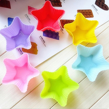 Hot 6pcs Silicone Star Cake Muffin Chocolate Cupcake Bakeware Mould Mold Maker Tool