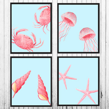 Nautical art prints - Nautical decor - Coastal wall art - Coastal decor - Crab print - Octopus print - Shell print - Starfish print