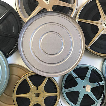 Vintage Film Reels and Canisters 8 MM Metallic Set of 5 Film Storage Containers Film Reel Case Movie Theatre Home Decor Craft Supplies