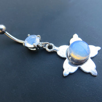 Star Flower Milky White Opalite Moonstone Opal Moon Stone Belly Button Jewelry Ring Navel Piercing Bar Barbell