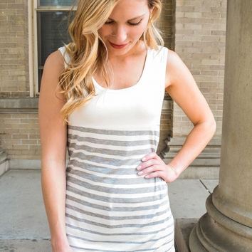 Gray-Scale Stripe Top