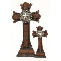 Western Moments Tooled Resin Table Top Western Crosses