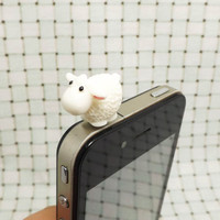 Adorable Pure White Sheep Ovis 3.5mm Cell Phone Plug iPhone 4 4S 5 5S Dust Plug Samsung Charm Headphone Jack Ear Cap