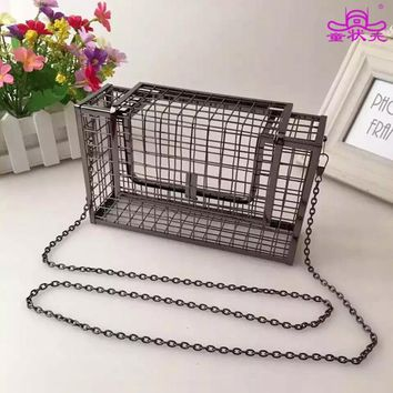 Personality Hollow Metal Cages Women Party Clutch Evening Shoulder Bag Ladies Handbag Messenger Bags Purse Unique Fashion Design