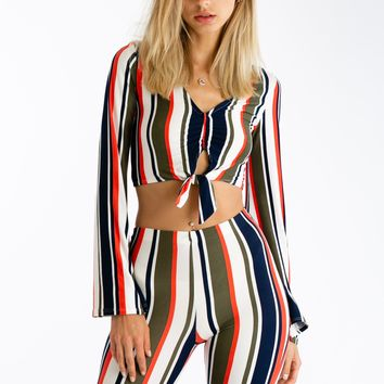 Stripe A Match Matching Pants Set Top
