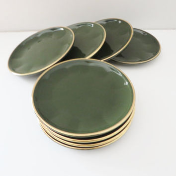 Apilco vintage tea plates 1980's green and gold, French tea plates, French porcelain, Green tea plates, Excellent quality