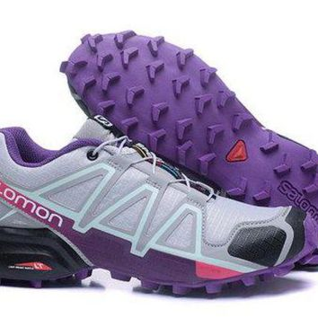 ESBONVX Salomon Women's Adidas Speed Cross 4 Trail Running Shoe Gray/Purple US5-9.5