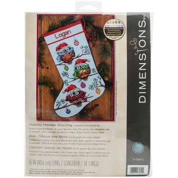 """Holiday Hooties Stocking (14 Count) Dimensions Counted Cross Stitch Kit 16"""" Long"""