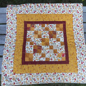 Fall Autumn Farmhouse Quilted Table Topper Runner Gold Brown Ivory Scrappy Four Patch
